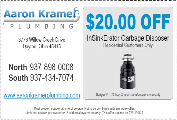 $20 OFF InSinkErator Garbage Disposer - Aaron Kramer Plumbing | Old World Craftsmanship